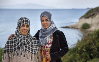 Fatima, 47, and her daughter Maisa, 19 are from Syria - now staying at Kara Tepe Camp, Lesvos - action aid
